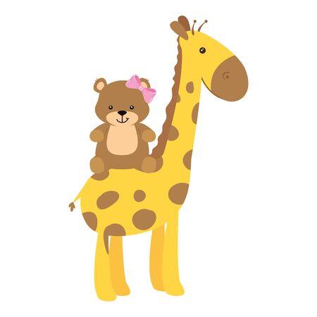 cute giraffe with teddy bear female isolated icon vector illustration design