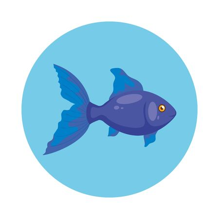 cute fish in frame circular isolated icon vector illustration design  イラスト・ベクター素材
