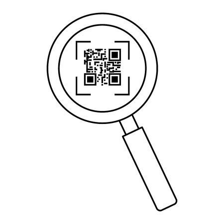 classic qr code in magnifying glass line style icon vector illustration design Ilustrace