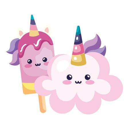 cute cloud and ice cream unicorn kawaii style icon vector illustration design Standard-Bild - 140645759