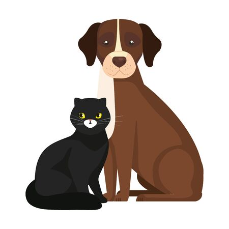 cute dog with cat black isolated icons vector illustration design