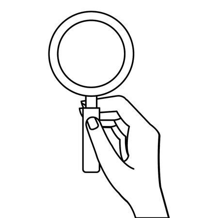 hand with magnifying glass instrument isolated icon vector illustration design Ilustrace