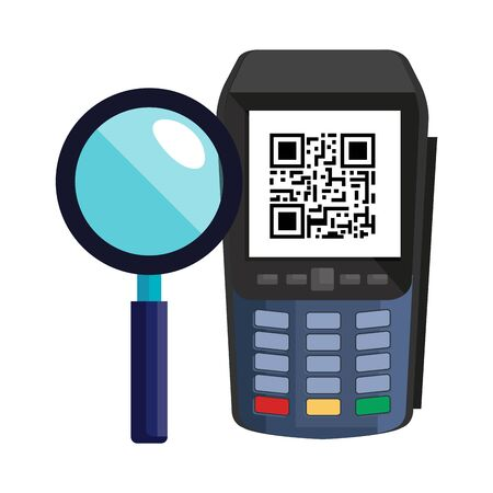 dataphone with scan code qr and magnifying glass vector illustration design