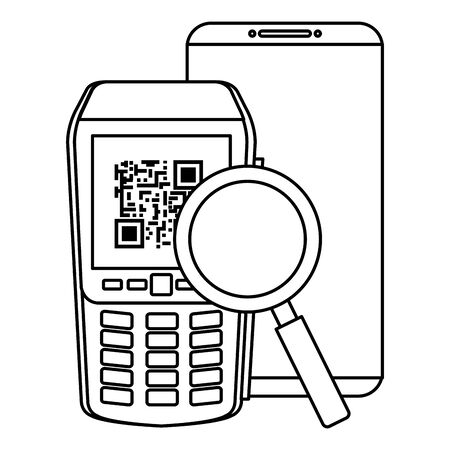 dataphone with smartphone and magnifying glass vector illustration design