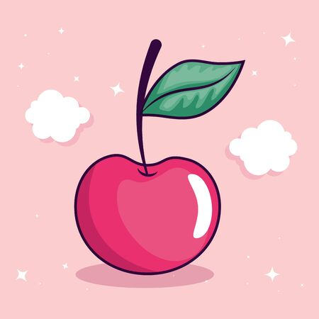 cute cherry with leaf and clouds decoration vector illustration design