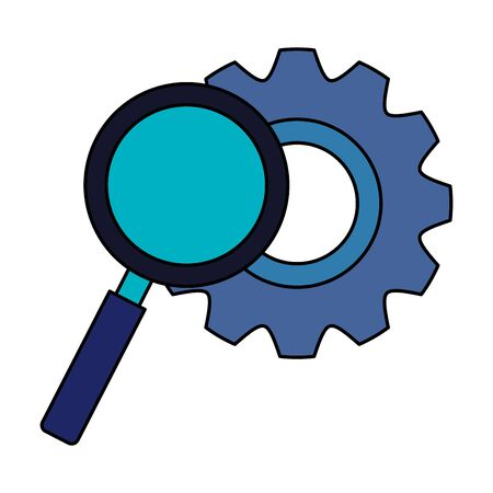 gear pinion with magnifying glass vector illustration design