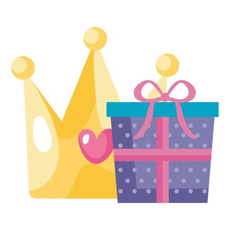 gift box with cute crown isolated icon vector illustration design