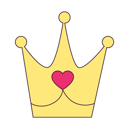 cute crown with heart isolated icon vector illustration design 矢量图像