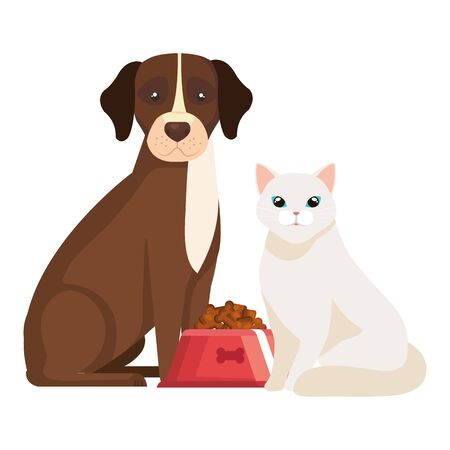 dog with cat and dish food isolated icon vector illustration design