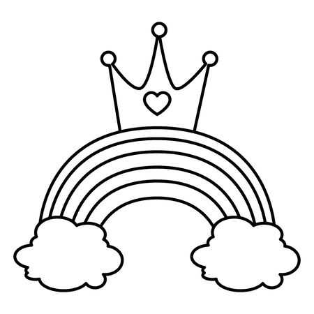 cute rainbow with clouds and crown line style icon vector illustration design