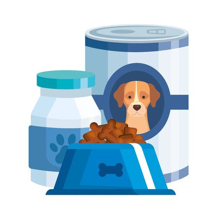 foods and bottle medicine for dog isolated icon vector illustration design