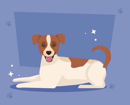 white dog with brown spotted in background with pawprints vector illustration design