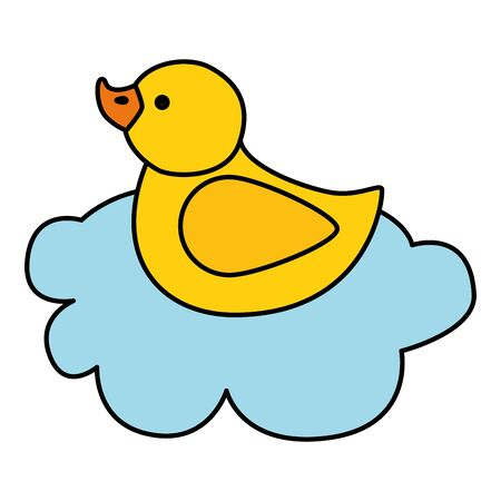 cute duck rubber in cloud isolated icon vector illustration design