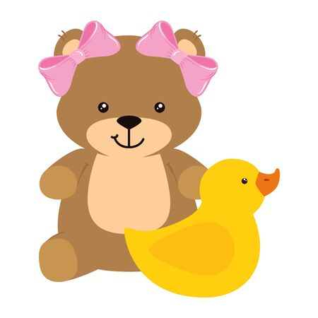 cute duck rubber with teddy bear female vector illustration design
