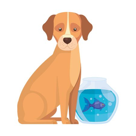 cute dog with fish bowl isolated icon vector illustration design 向量圖像
