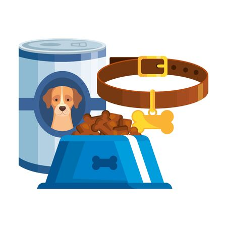 foods for dog with collar isolated icon vector illustration design