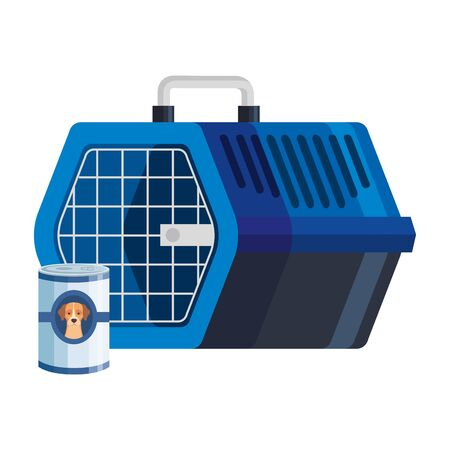pet carry box with food can for dog vector illustration design Ilustrace