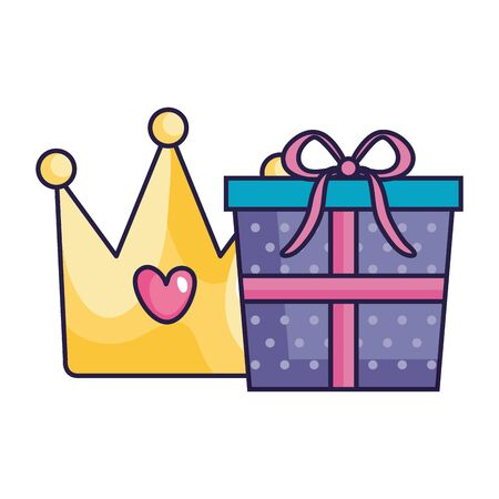 cute crown with gift box isolated icon vector illustration design