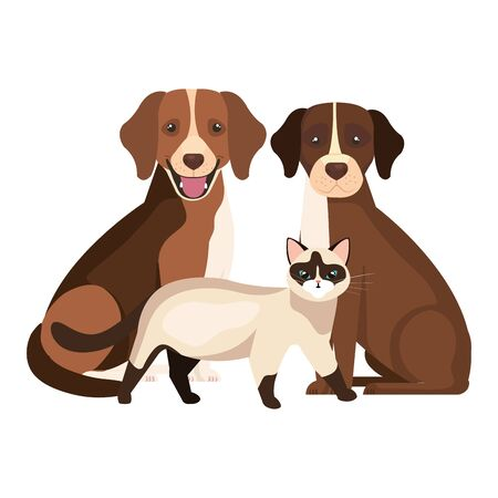 group of dogs with cat isolated icons vector illustration design