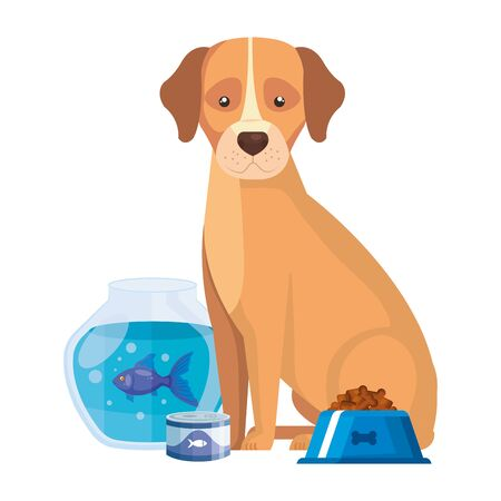 cute dog with round glass fish bowl icons vector illustration design