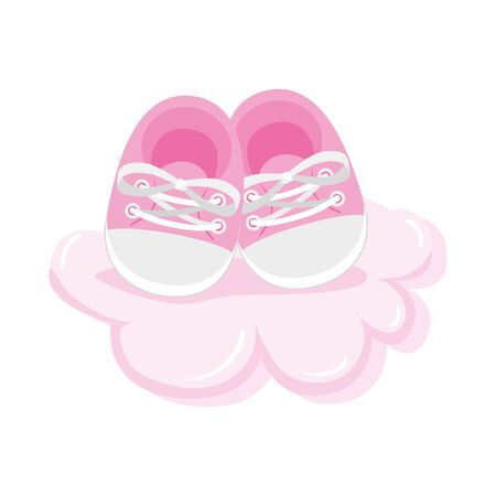 cute shoes baby in cloud isolated icon vector illustration design