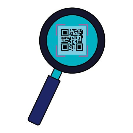 classic qr code in magnifying glass vector illustration design Ilustrace