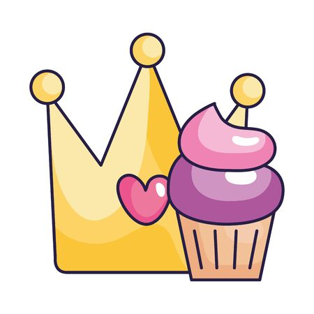 cute crown with cupcake isolated icon vector illustration design