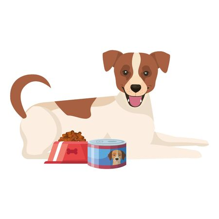 cute dog with dish and can food isolated icon vector illustration design 向量圖像
