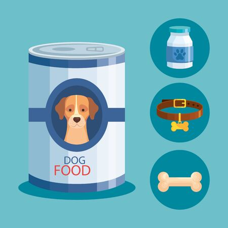 food for dog in can with icons vector illustration design