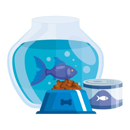 round glass fish bowl with food for fish in can and dish food dog vector illustration design Ilustrace