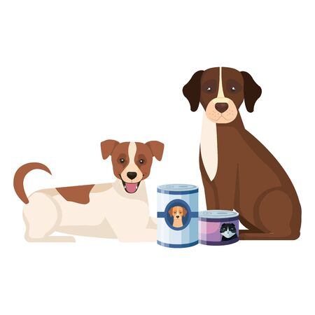 dog and cat with food in can vector illustration design