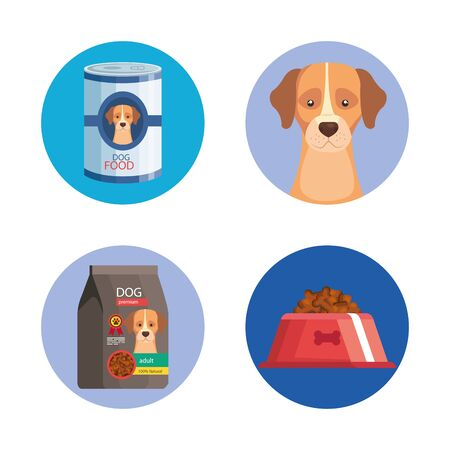 bundle of pet shop icons vector illustration design Çizim