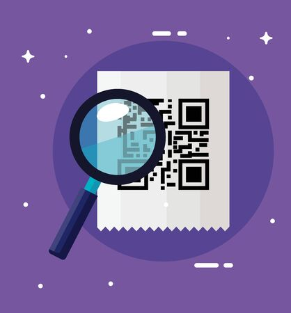 classic qr code with magnifying glass vector illustration design Ilustrace