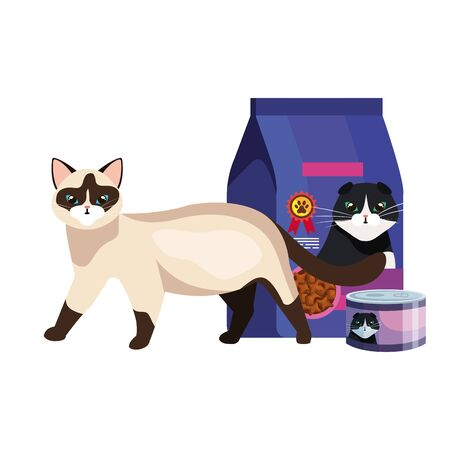 cute cat with food in bag and can vector illustration design Ilustrace