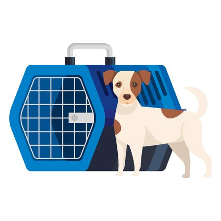 cute dog with pet carry box vector illustration design