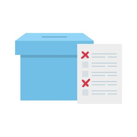 ballot box with vote form isolated icon vector illustration design