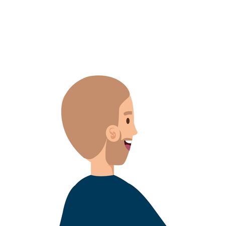 back young man with beard avatar character vector illustration design