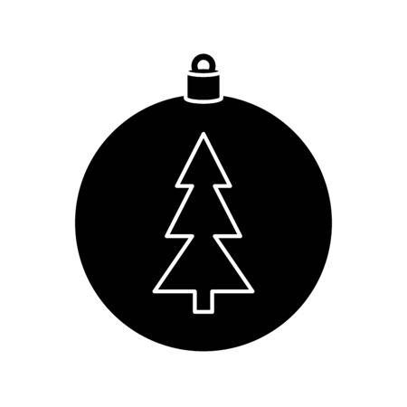 silhouette of ball with pine tree of christmas isolated icon vector illustration design