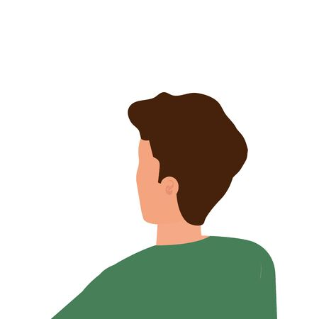 back young man avatar character icon vector illustration design Çizim