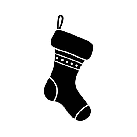silhouette of sock christmas decorative isolated icon vector illustration design Stock Illustratie