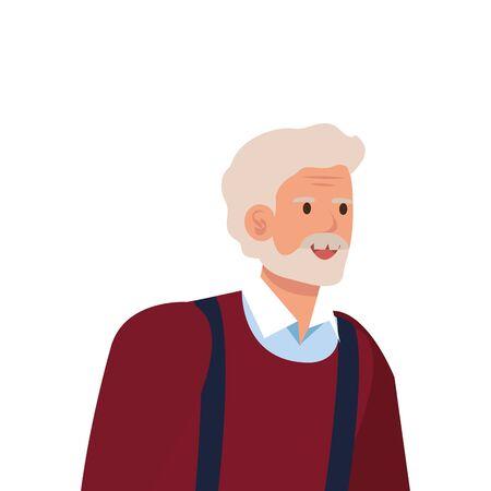 old man elegant avatar character vector illustration design