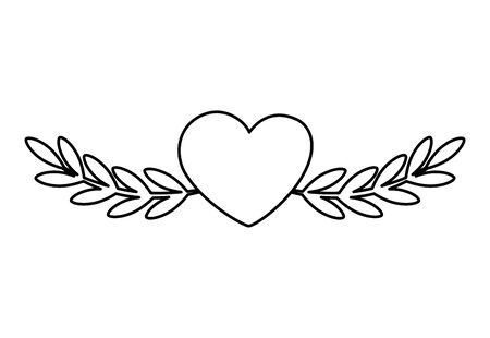 cute heart with branches and leafs isolated icon vector illustration design