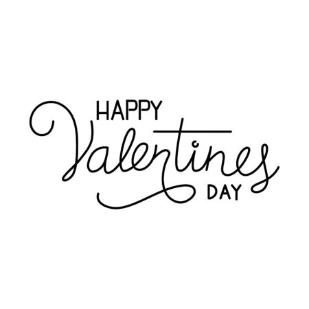 happy valentines day label on white background vector illustration design