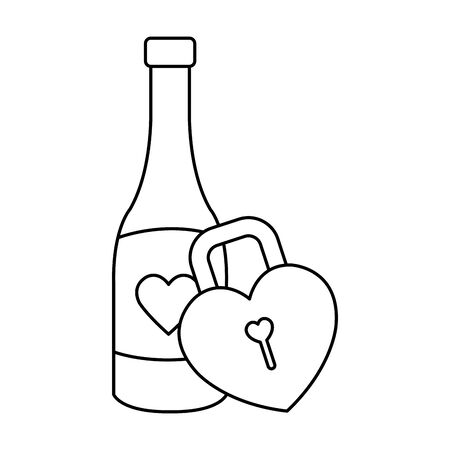 padlock in shape heart with bottle wine isolated icon vector illustration design