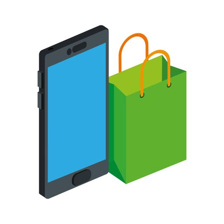 bag shopping with smartphone isolated icon vector illustration design