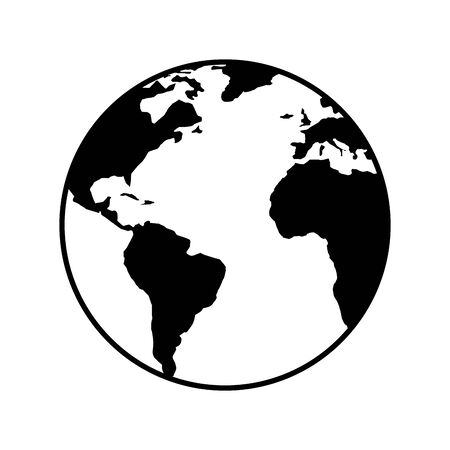 world planet earth line style icon vector illustration design
