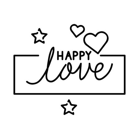 happy lettering with heart and stars decoration vector illustration design