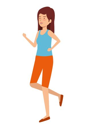 cute girl practicing exercice vector illustration design Ilustracja