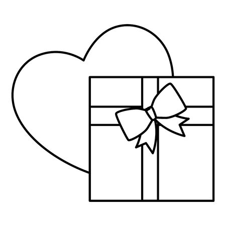 gift box with balloon helium in shape heart vector illustration design