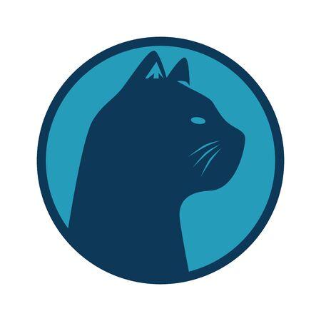 silhouette of head cat in frame circular vector illustration design Ilustração